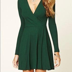 3/$15 F21 Hunter Green Skater Dress